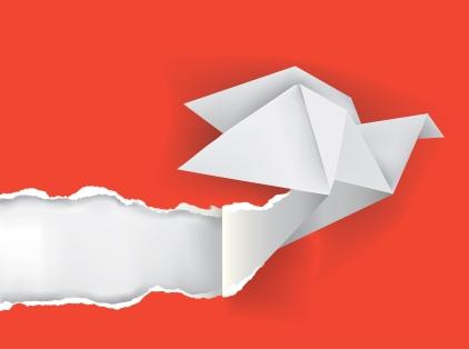 26519663 - vector illustration of origami bird ripping paper